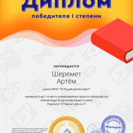 19837603. 54937570 SHeremet Artyom 270x270 Достижения обучающихся