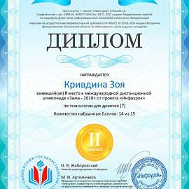 Diplom proekta infourok.ru Krivdina Zoya 270x270 Достижения обучающихся