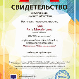 Svidetelstvo proekta infourok.ru 982372 270x270 Достижения сотрудников