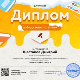 SHestakov Dmitrij diplom 270x270 Достижения обучающихся