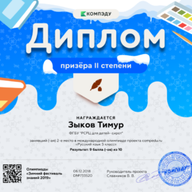 Zykov Timur diplom 270x270 Достижения обучающихся