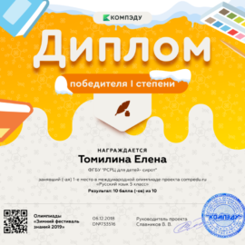 Tomilina Elena diplom 270x270 Достижения обучающихся
