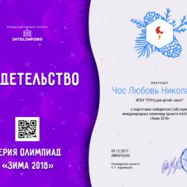 CHos Lyubov Nikolaevna svidetelstvo 270x270 Достижения сотрудников