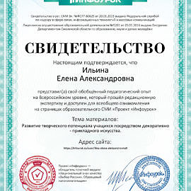 Svidetelstvo proekta infourok.ru Ilina E.A. 270x270 Достижения сотрудников