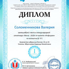 Solomennikova Valeriya 270x270 Достижения обучающихся