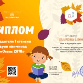 Tomilova Elena diplom 270x270 Достижения обучающихся