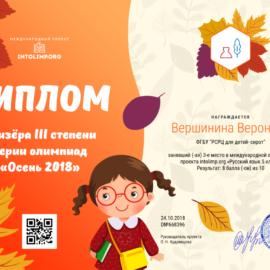 Vershinina Veronika diplom 270x270 Достижения обучающихся