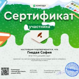 Gnedaya Sofiya sertifikat1 270x270 Достижения обучающихся