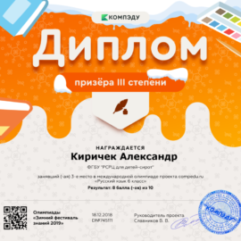 Kirichek Aleksandr diplom 270x270 Достижения обучающихся