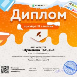 SHulepova Tatyana diplom1 270x270 Достижения обучающихся