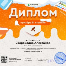 Skorohodov Aleksandr diplom 270x270 Достижения обучающихся