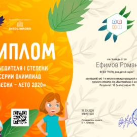 Efimov Roman diplom 270x270 Достижения обучающихся
