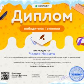 CHaplya Nikita diplom 270x270 Достижения обучающихся