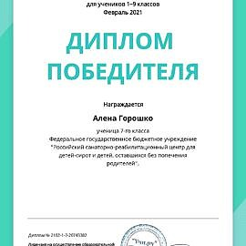 Diplom Math Alena Goroshko  270x270 Достижения обучающихся